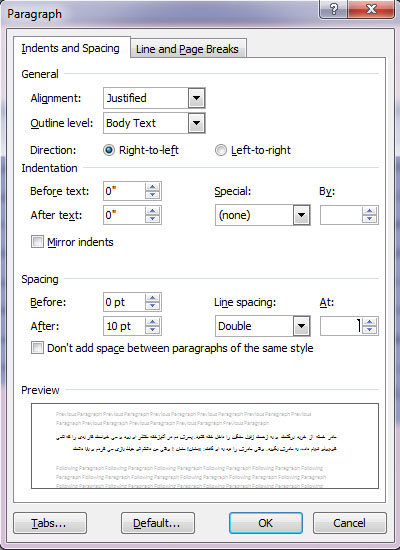 Line Spacing Paragraph Option در نرم افزار Word